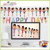 Bandera de papel con las guirnaldas felices del día para la decoración del partido