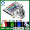 Projector do diodo emissor de luz RGB do diodo emissor de luz Bulbs 12V MR16 3W de Changing E27/E14/GU10/Gu5.3/MR16 da cor com IR Remote Control