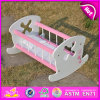 2015 사랑스러운 Wooden Pink Baby Toy Doll Bed, Baby - 인형 Furniture Rocking Bed 또는 Cradle, High Quality Cute Wooden Toy Doll Bed W06b022