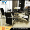 一定の黒いガラス表を食事するステンレス鋼の家具