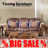 Sofa classique américain de tissu avec du bois d'exposition pour le jeu de salle de séjour