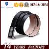 黒いラチェットベルトの金属の自動バックルの本革ベルト