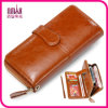 Bifold Wallet Purse di Genuine Brown Leather Men dell'annata con Zipper Coin Slot Pocket