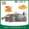 Microplaquetas e galinha de batata industriais que fritam a frigideira profunda da máquina