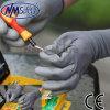 Guante cubierto PU de nylon gris del trabajo de la seguridad del trazador de líneas de Nmsafety