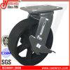 Schwenker 4  X2  mit seitlichem Bremsen-Industrie-Roheisen-Fußrollen-Rad