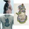Etiqueta engomada temporal impermeable del tatuaje de la serpiente del cráneo de la parte posterior colorida del brazo