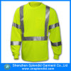 T-shirt 100% elevado da segurança do poliéster da visibilidade com a fita reflexiva de 3m