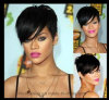 Rihanna Art-Haar-Kurzschluss-gerade Schwarz-synthetische Perücke für Frauen