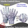 13G Polyster трикотажные Сад перчатки с Гиалиновый Нитриловое покрытие