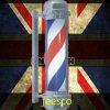 Cromo clássico luz de pólo chapeada de giro do sinal do salão de beleza do barbeiro