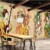 Barato impermeable auto-adhesivo de decoración japonesa Restaurantes mural del papel pintado