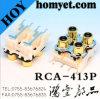 Gold-Pflanzender rechtwinkliger Weibchen RCA Jack Audio&Video Jack RCA-Stecker HandelsJack
