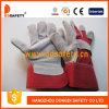 赤い綿のドリルのゴム加工された袖口牛そぎ皮作業手袋Dlc211