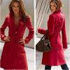 Шерсти новых женщин длинние тонкие определяют пояс куртки шинелей Breasted