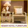 Presidenza di legno del braccio intagliata mano di lusso dell'interno con il foglio di oro decorativo