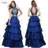 Mode neuve A en deux pièces - ligne robe avec une jupe à gradins et une robe de soirée estampée de corsage