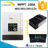 100A MPPT 12V 24V 36V 48V Contrôleur de charge de batterie solaire Écran LCD pour Max 150V DC RS485 Communication Radiateur de refroidissement Sch-100A