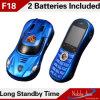 A venda por atacado colore o telefone de pilha duplo da faixa F18 do mini cartão duplo do estilo SIM da forma do carro