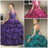 2012 cabeçada magnífica nova A - a linha plissado do revestimento da bainha perlou os vestidos de Quinceanera do tafetá (QD-015)