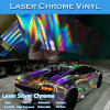 Nuevo abrigo del vinilo del coche del cromo del laser de la plata libre de la burbuja de aire del estilo