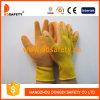 Перчатки Dkl322 желтой отделки Crinkle покрытия латекса раковины Tc померанцовой работая