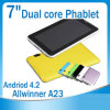 7 téléphone GSM Tablet d'écart-type de Dual Camera 1.2 \ 1.0GHz 2g Call Bluetooth Micro du double coeur A23/Rk3026 de la tablette PC 7 du dual core MID Phone de pouce