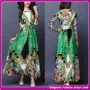 Новые платья партии втулок флористической печати зеленого цвета прибытия длинние 2015 платьев сексуального вечера макси (E-79)