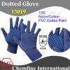 13G Синий нейлон / хлопок трикотажные перчатки с голубой ПВХ точек / EN388: 413X