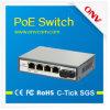 Scのファイバーポートおよび4つのPoeポートが付いている5ポート10/100m Poe媒体のコンバーター。 サポートIEEE802.3af標準(15.4W)