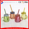 Los tarros de masón decorativos de calidad superior con las tapas y la paja venden al por mayor