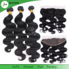 9A Parte superior de seda do cabelo humano da Virgem brasileira Frontal com 2/3 Pacotes Pacotes de ondas de corpo humano 100% Fechamento frontal da base de seda