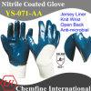 Джерси перчатка с антимикробными Синий Нитриловое покрытие & Open Back & вязать наручные / EN388: 4221 (YS-071-AA)