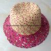 100% de papel Sombrero de paja, mezcló el estilo de Col con decoración de flores