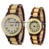 Reloj de madera del cuarzo analogico fijado para el regalo de los pares