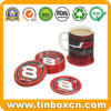 Coaster lata redonda para el café, la lata del metal Pad con corcho