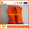 Перчатка безопасности померанцовой перчатки пены PVC химически упорная (DPV313)