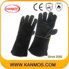 Черный Натуральная кожа Промышленная безопасность Сварка работы перчатка (111033)
