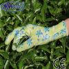 Gants imprimés de jardin enduits par nitriles de gants de sûreté de Nmsafety