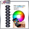 Lumière tous terrains de roche de Bluetooth de couleur du nécessaire RVB de lumière de roche de 8 cosses DEL de contrôle de l'instantané changeable DEL de musique