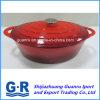 赤いエナメルの鋳鉄の焦げ付き防止の調理の鍋