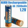 1.2V NiMHの充電電池2600mAh