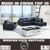 أسود حديثة جلد أريكة مع كرسي تثبيت وحيد [لز888]