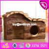Criceto di legno naturale di Hosue dell'animale domestico di formati dei nuovi prodotti tre il grande mette in gabbia W06f022