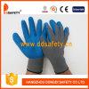 Graues Nylon mit blauem Latex-Handschuh Dnl116