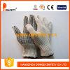 Natürlicher Baumwoll-/Polyester-Zeichenketteknit-Handschuh, schwarzes PVC punktiert eine Seite (DKP107)