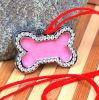 Encanto bonito cor-de-rosa do animal de estimação da forma do osso