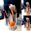 3 Schlitz-Acrylverfassungs-Pinsel-Halter und Gesichts-Pinsel-Organisator, 5.5X5.5X4.7inch