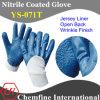 Джерси перчатка с голубой Nitrile Rough покрытием Палм & открытой спиной & вязать наручные / EN388: 4221 / Размер 9 , 10, 11 (YS-071T)
