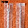 Slider Plastic Zipper dos PP Transparent Invisible com White Teeth
